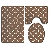 Dog Paw Accessories Bathroom Rugs Set Non-shedding Toilet Mat Set Washable Lid Toilet Cover And Bath Mat