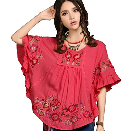 (Kafeimali Women's Tops Batwing Floral Embroidered Loose Peasant Butterfly Mexican Blouse (Red))