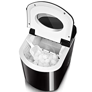 TRUSTECH Ice Maker - 9 Bullet Ice / 8 Min - Highly Efficient Ice Machine, Auto Cycle Working, Auto Shut Off, S/L Size Bullet Ice Cube Ice Maker Machine with Ice Scoop and Removable Bucket, 26 lbs/24h