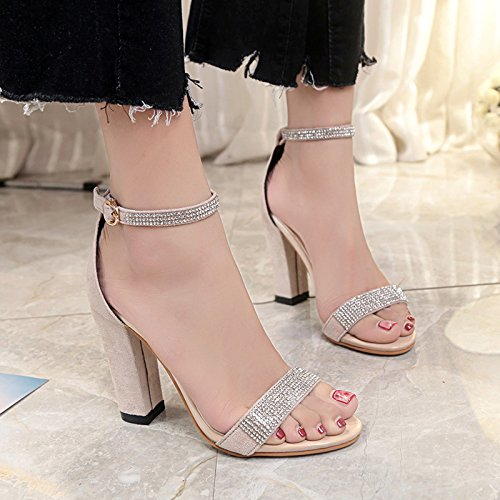 Heeled Buckle Belt Wild Suede drill Stones Black Women'S Thick Comfortable Casual Sandals High Toe With Summer Open Sandals axpIqwvn