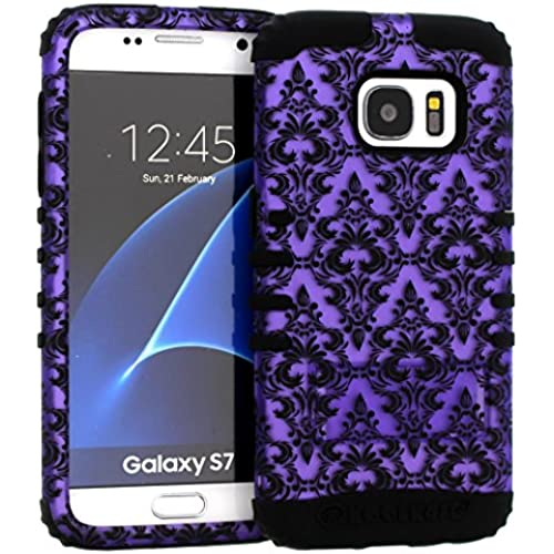 Galaxy S7 Case, Hybrid Heavy Duty Rugged Armor Kickstand Shock Proof Impact Resistant Grip Cover for Samsung Galaxy S7 (Purple Damask / Black) Sales
