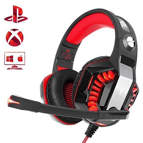 Gaming Headset for PS4 Xbox One PC, Beexcellent 2019 New Professional Over Ear Gaming Headphones with Deep Bass Surround Sound, LED Light & Noise Canceling Microphone for Nintendo Switch Mac Laptop (Best Xbox 360 Headset For The Money)