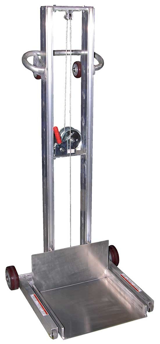 Dolly with Lift - Aluminum Construction - BALLPW Series; Platform Size (W x L): 20'' x 20''; Lowered Height: 1/4''; Raised Height: 55''; Capacity (LBS): 400; Operation: Winch