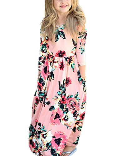 Dongpai Girls Floral Print 3/4 Sleeve Casual Holiday Beach Flared Maxi Dress With - On All Free Orders Shipping