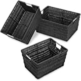 Whitmor 6500-1959 Rattique Storage Baskets, Black, Set of 3