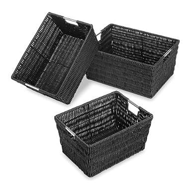 Whitmor, Rattique Storage Baskets, Set of 3, Black