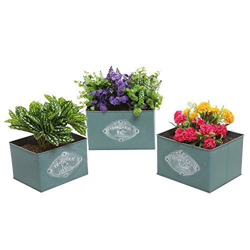 Set of 3 Green Metal Flowers & Garden Design Nesting Planter Boxes / Storage Display Bins