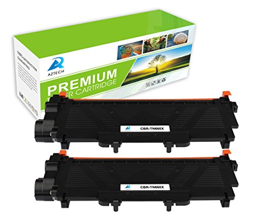 AZTECH 2 Pack High Yield Black Toner cartridge Replaces Brother TN660 TN-660 Brother HL-L2300D HL-L2320D HL-L2340DW HL-L2360DN HL-L2360DW HL-L2365DW HL-L2380DW DCP-L2500D