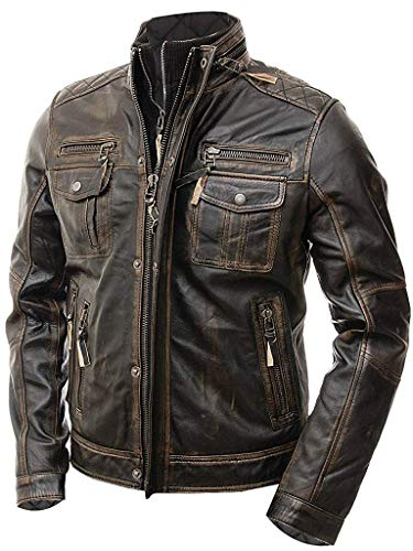 Streamline choice Mens Motorcycle Biker Slim Fit Vintage Distressed Cafe Racer Real Leather Jacket - Medium - Brown