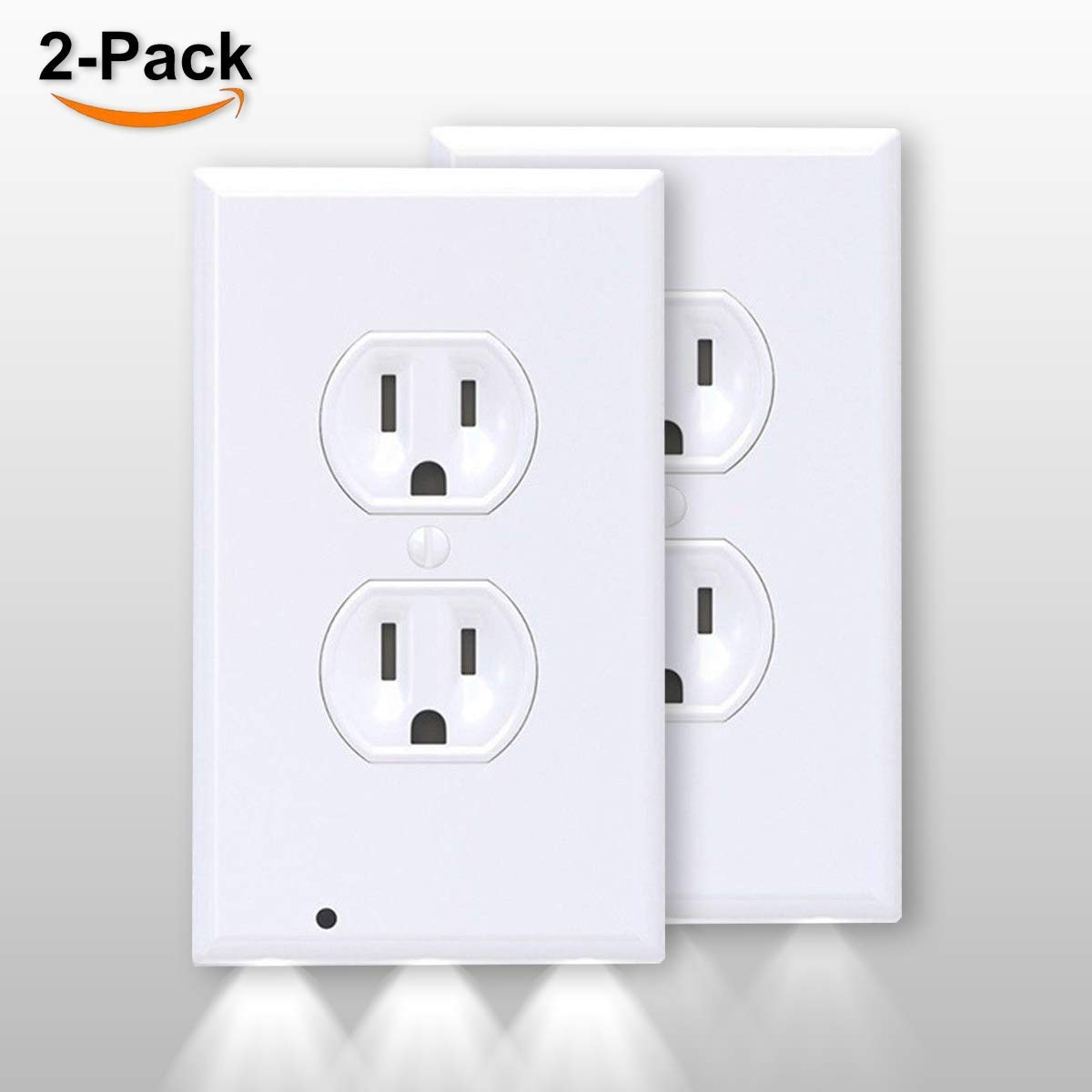 2 Pack SnapLight Safety Light - Wall Outlet Plate With LED Night Light Lighting - No Batteries or Wires - Duplex, White (2)