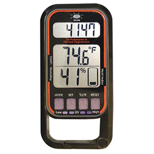 Sun Company HikeLinq 2-10-Function Pedometer with Bosch 3D Sensor | Low-Cost Step Counter for Hiking and Walking