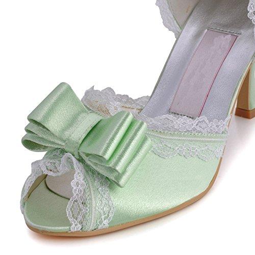 Beading Sateng Brude 5 7 Grønn Kvinners Minitoo Stiletthæl Cm Bryllup Sandaler XTEqSx