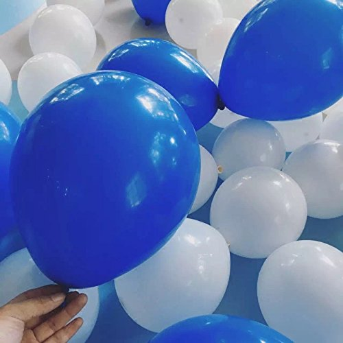 100 PCS White& Royal blue Balloons 12 Inches Latex Round Balloons for Wedding Party Birthday Decorations Kids Toys -