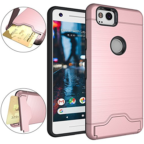 Google Pixel 2 Case, OUBA [Card Slot] [Kickstand] Dual Layer Shock Absorbent Armor Hybrid Defender Shockproof Rugged Protective Cover case for Google Pixel 2 - Rose Gold