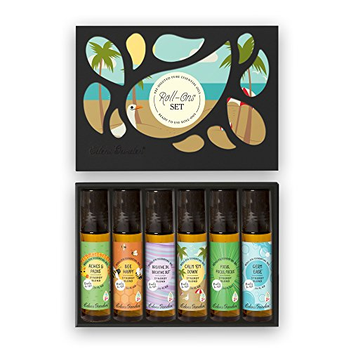Essential Oil Roll-Ons OK For Kids 6 Set by Edens Garden 6/10 ml includes Aches & Pains, Bee Happy, Breathe In Breathe Out, Calm Em Down, Focus Focus Focus, and Germ Ease (Ons Roll Personal Care)