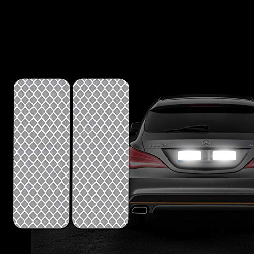 Bumper Reflective - FOLCONROAD 10Pcs Car Reflective Warning Strip Stickers Safety Warning Light Reflector Protective Sticker [White-Rectangle][US Warehouse]