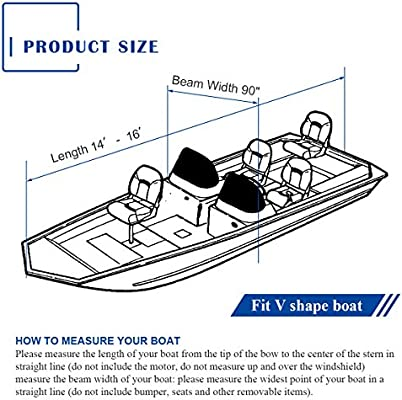 600D 20-22 ft Waterproof Fabric Trailerable V shape Boat Cover W// Storage Bag