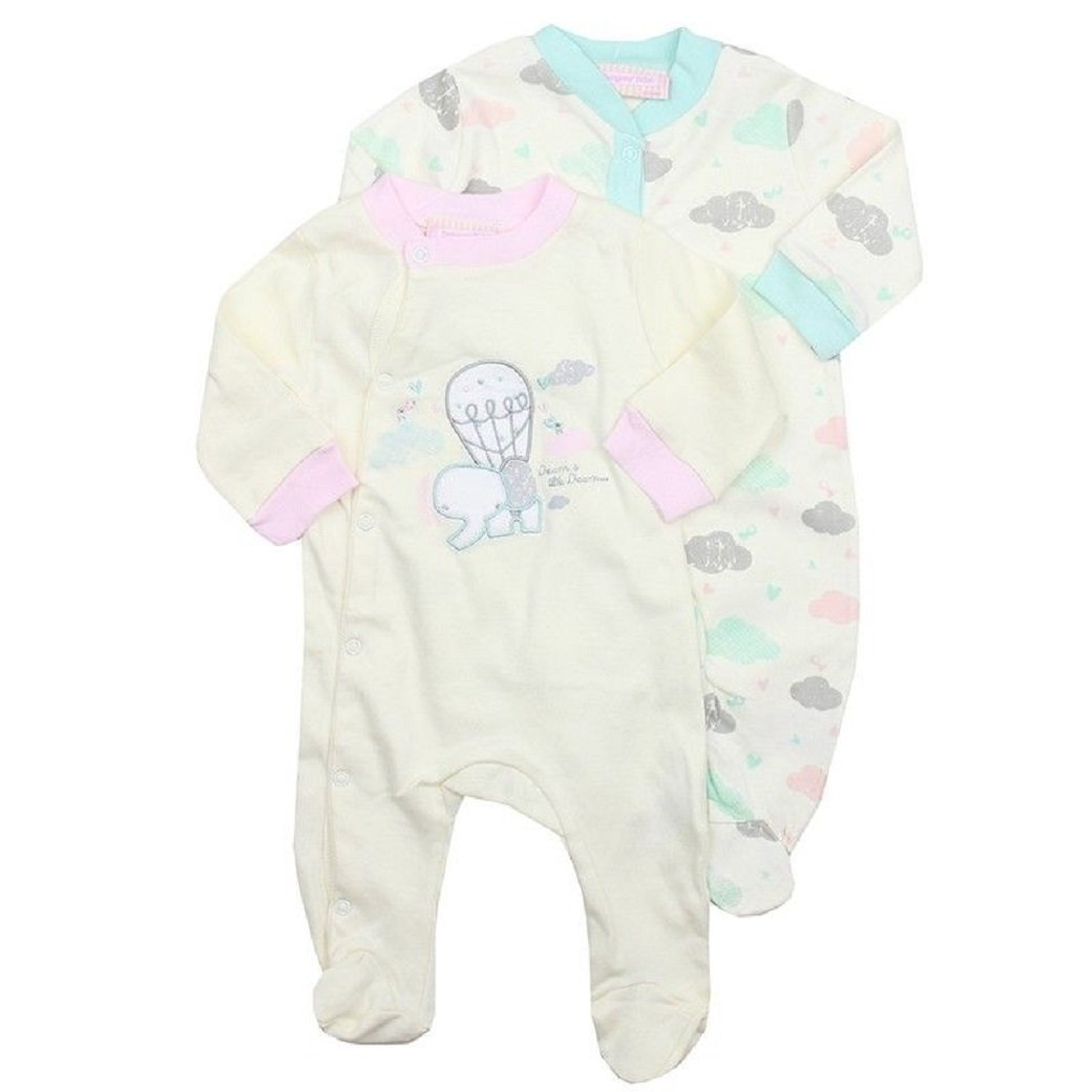 Bonjour Baby Girls Bebe 2piece Pastel Elephant Sleepsuits Babygrow-0-9 Months