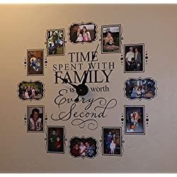 CL205 Family Photo Vinyl Decal Clock (Black)