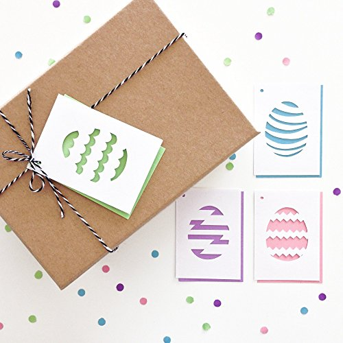 (Easter Gift tags - Handmade Set of 4, Easter Eggs, Easter Basket Tags, Scallop, Stripe, Zigzag, Chevron, Patterns, Swing Tags, Favor Tags)