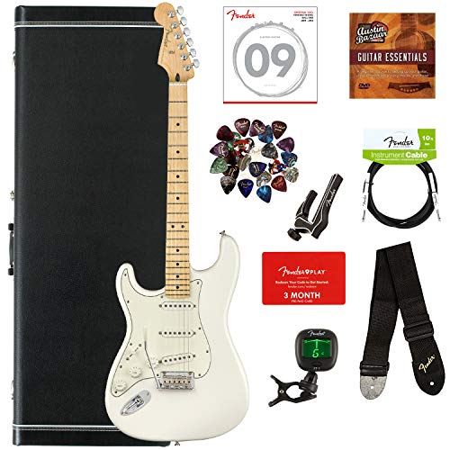 Fender Player Stratocaster, Maple, Left Handed - Polar White Bundle with Hard Case, Cable, Tuner, Strap, Strings, Picks, Capo, Fender Play Online Lessons, and Austin Bazaar Instructional DVD