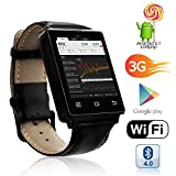 indigi phone company - Android 4.0 Smart Phone Watch - 1.54 Inch Touch Screen Display, Camera, Dual Core CPU (Black)
