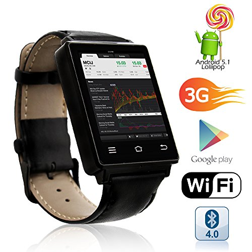 Indigi Swatch-D6-06 Exclusive 3G Unlocked Android 5.1 OS Smart Watch Phone (3G+Wi-Fi) GPS(Maps) + Heart Rate Sensor + Bluetooth 4.0