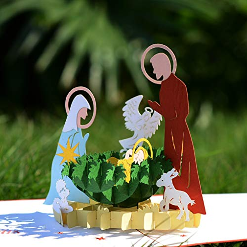 CUTPOPUP Christmas Pop Up Card Silent Night Nativity Scene, Christmas 3D Pop-up Greeting Card, Holiday - Intricate Design, Perfect Details, good Choice for Family, Friends- Includes elegant envelope