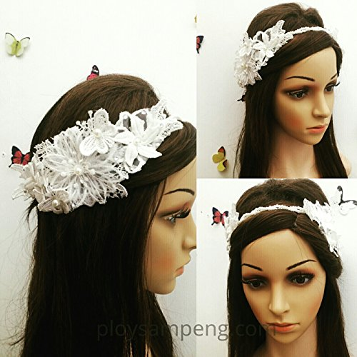 Price comparison product image MeeTHan Vintage Lace Pearl Flower Headband :VT2 (2S-White)