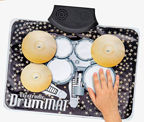 Electronic Drum Mat Touch Sensitive Toy for Kids - Built in Speaker Learning Musical Education Portable Practice Fun Toy