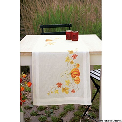 Vervaco Pumpkins Table Runner Stamped Cross Stitch Kit-16