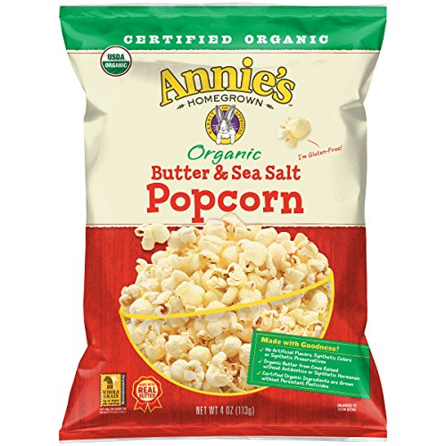 Annie's Organic Butter & Sea Salt Popcorn, 4 Ounce (Pack of 12)