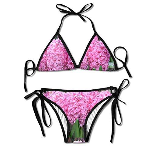 AZXGGV Hyacinth Pink Pearl Women's Fashion Adjustable Swimsuit Bikini Set
