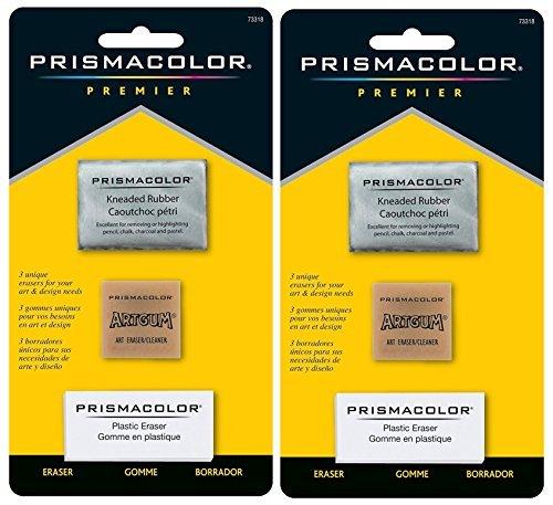 Sanford 2-PACK - Prismacolor Premier Eraser Set - Kneaded, ArtGum and Plastic Erasers, Set of - Eraser Art Kneadable