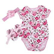 Bywen Baby Girls Romper with Headband and Shoes Set Giraffe 6-12 Months