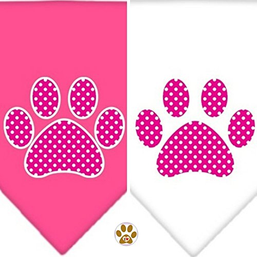 (Swiss Dotted Pink Paw Print Logo Theme Bandana Scarf and Pin 2pc.Combo set - Asstd. Color Packs - in Dog sizes Small thru Large (Small- fits Neck 8