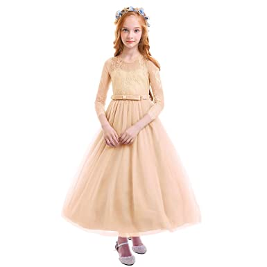 OBEEII Baby Girls Ceremony Dress Long Sleeve Floral Lace Ball Gown for Wedding  Flower Girl Bridesmaid a92e7394bec2