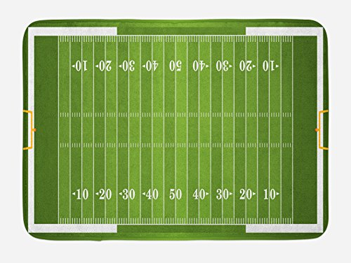 Lunarable Football Bath Mat, Sports Field in Green Gridiron Yard Competitive Games College Teamwork Superbowl, Plush Bathroom Decor Mat with Non Slip Backing, 29.5 W X 17.5 W Inches, Green White