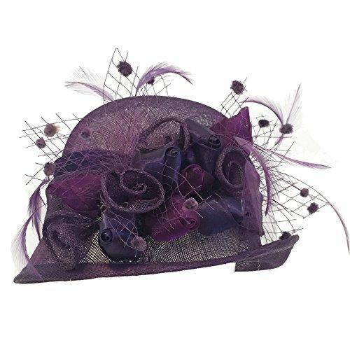 Port Classic Fancy Sinamay Feather Flower Gatsby Kentucky Derby Party Hat Purple