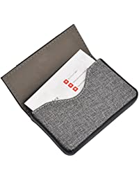 Leather Business Card Cases Fashion Business Card Holder with Magnetic Shut, Holds 25 Business Cards, Men or Women Name Card Holder Case Black
