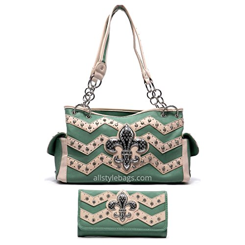 Color Block Fleur De Lis Chevron mint Shoulder wallet Bag set Zigzag rhinestone