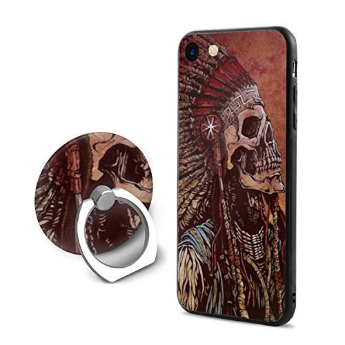 (Indian Tribal Chiefs Skull iPhone 7/8 Case Cover with 360 Rotating Ring Grip/Stand Holder/Kickstand for iPhone 6 /6S)
