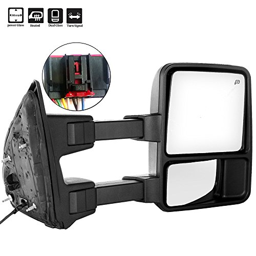 (SCITOO Ford Towing Mirrors RH Side Rear View Mirrors fit 2008-2016 Ford F-250 F-350 F-450 F-550 Super Duty with Power Control Heated Manual Telescoping Manual Folding and Turn Signal Light Feature)