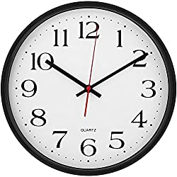 Large Decorative Wall Clock - Universal Non - Ticking & Silent 12-Inch Wall Clock - by Utopia Home (Black)