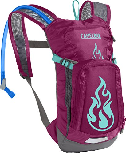 CamelBak Kids Mini M.U.L.E. Crux Reservoir Hydration Pack, Baton Rouge/ Flames, 1.5 L/50 oz (Camelbak Water Packs)