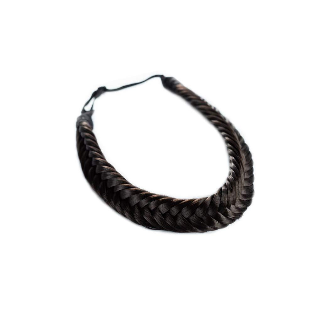 Madison Braids Women's Headband Hair Braid Natural Looking Synthetic Hair Piece Extension - Arisa Fishtail - Dark Brown by MADISON BRAIDS