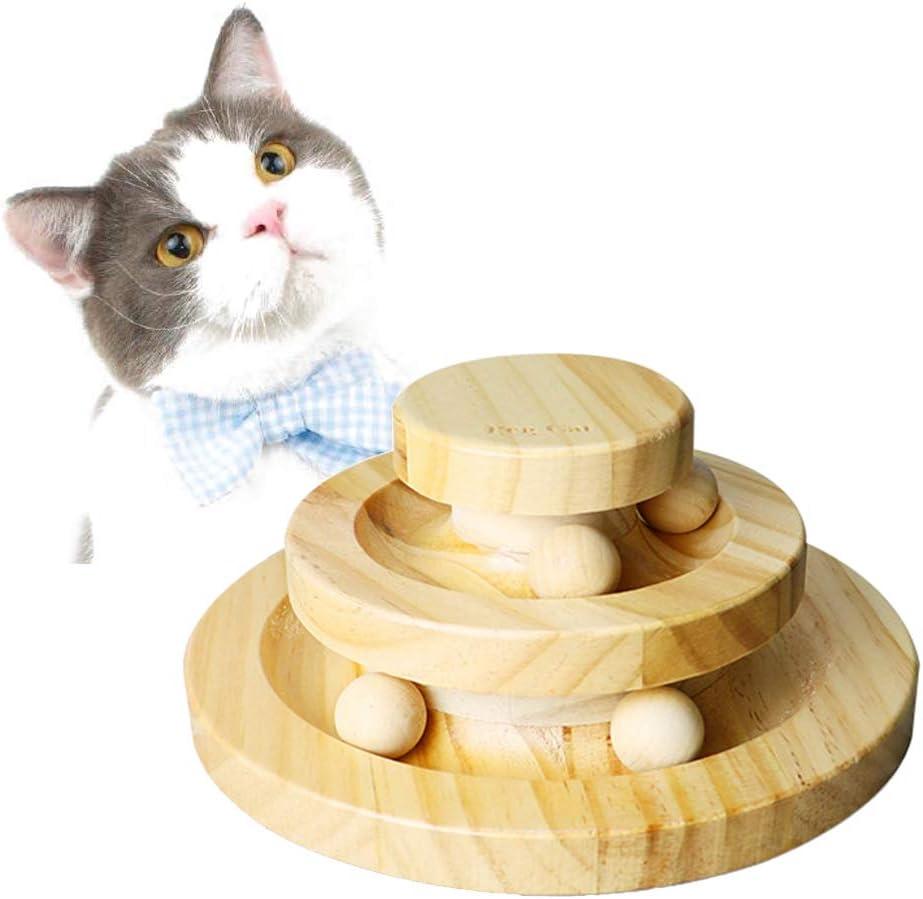 POPETPOP Juguete interactivo para gato, dos capas, tocadiscos de madera, bola de balanceo inteligente, juguete para gatos, gatos y gatos: Amazon.es: Productos para mascotas