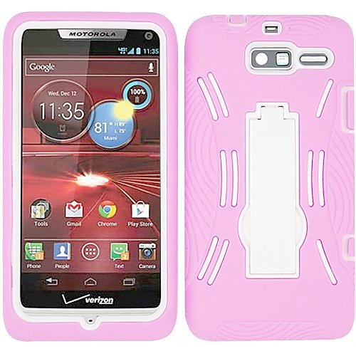 Baby Light Pink White HyBrid HyBird Rubber Soft Skin Kickstand Case Hard Cover Faceplate For Motorola Droid Razr M XT907 Razor with Free Pouch