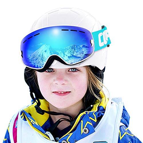 (COPOZZ Kids Ski Goggles, G3 Kids Snow Snowboard Goggles - Helmet Compatible Over Glasses OTG Design Non-Slip Strap UV Protection for Children Youth Boys Girls (White-Blue (VLT 24.5%)))