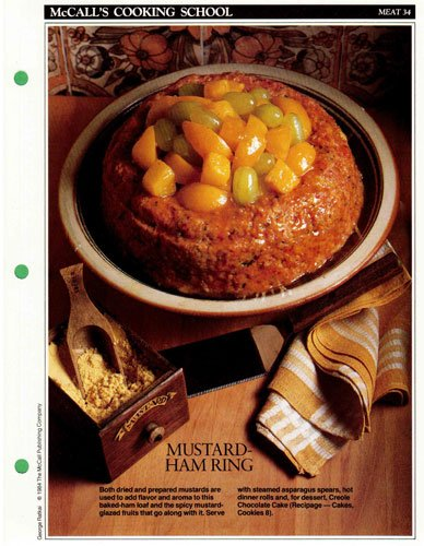 McCall's Cooking School Recipe Card: Meat 34 - Ham-Loaf Ring With Mustard-Glazed Fruits (Replacement McCall's Recipage or Recipe Card For 3-Ring Binders)